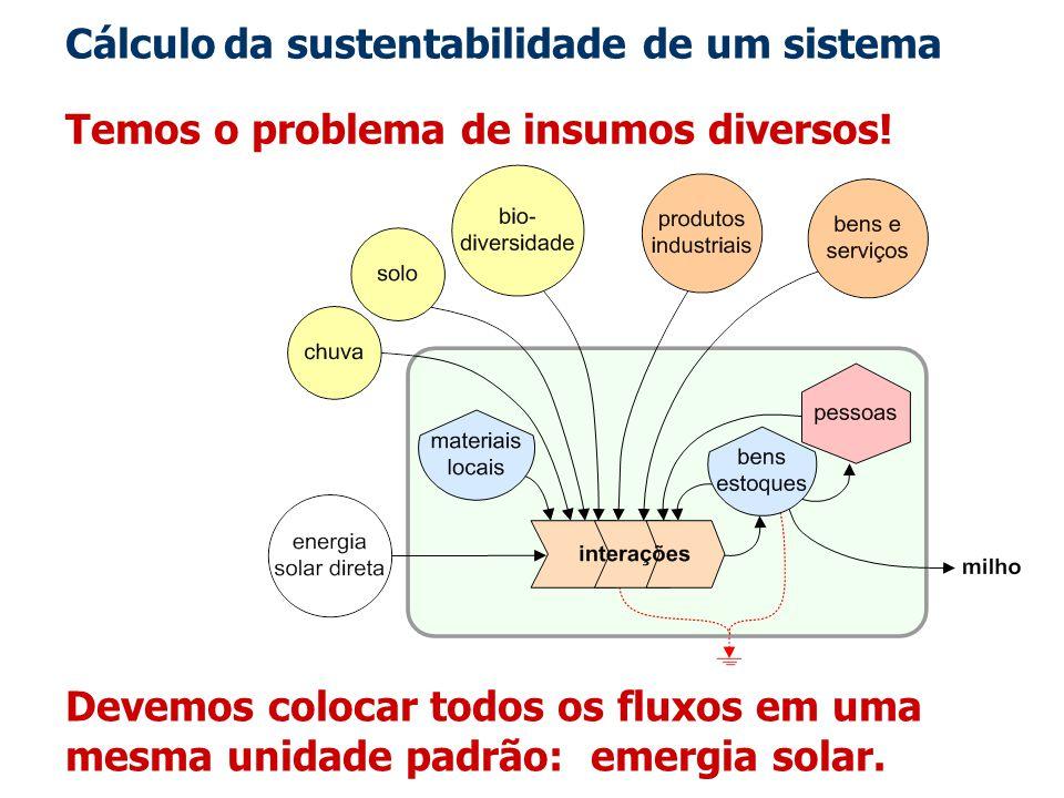 Cálculo da sustentabilidade de um sistema
