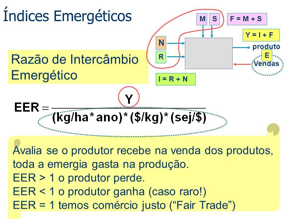 Índices Emergéticos Razão de Intercâmbio Emergético