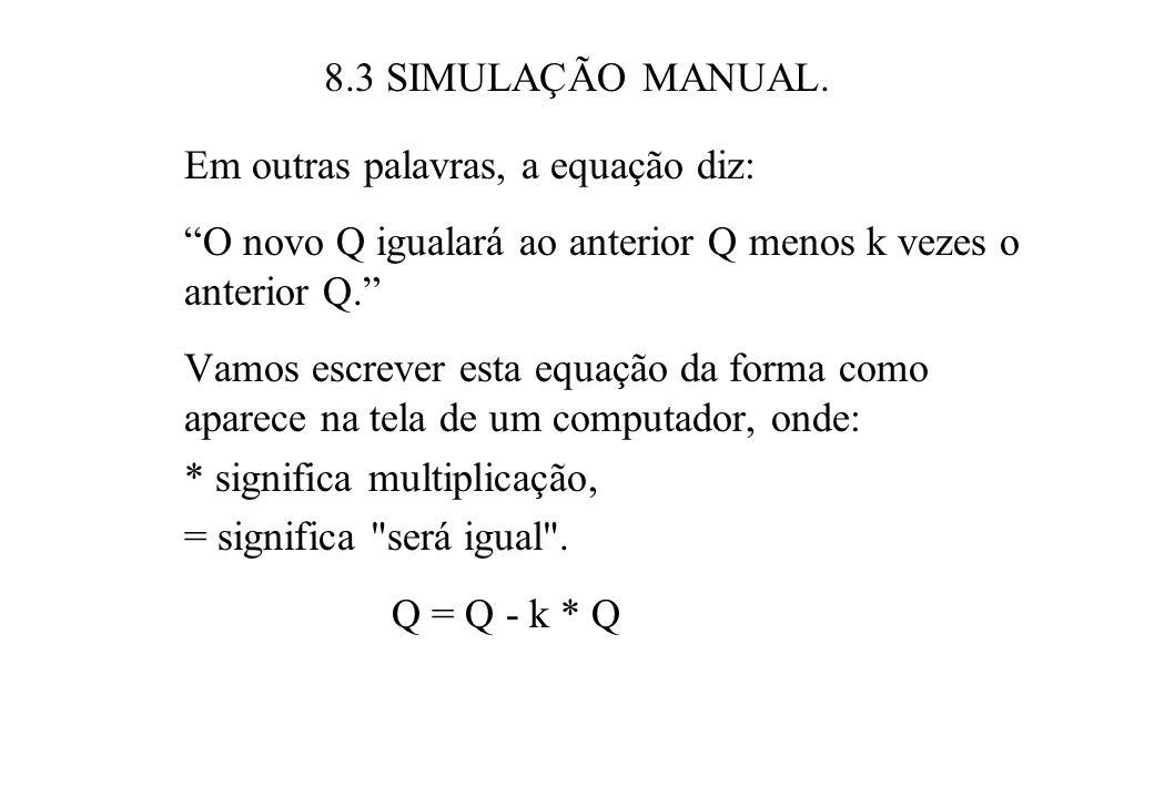 8.3 SIMULAÇÃO MANUAL. Em outras palavras, a equação diz: O novo Q igualará ao anterior Q menos k vezes o anterior Q.