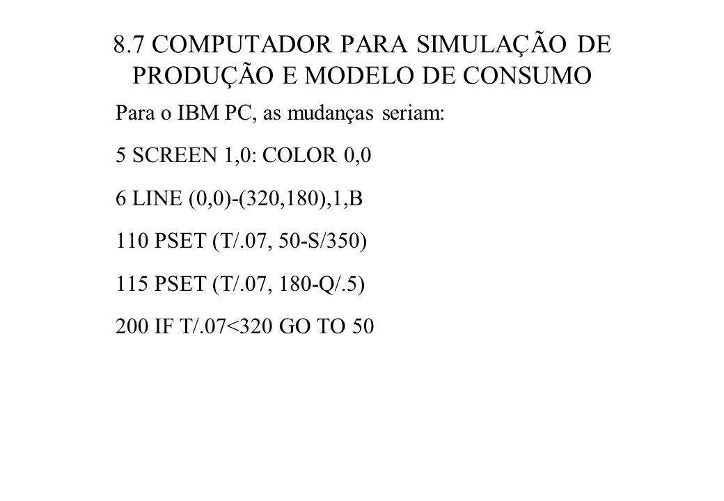 8.7 COMPUTADOR PARA SIMULAÇÃO DE PRODUÇÃO E MODELO DE CONSUMO