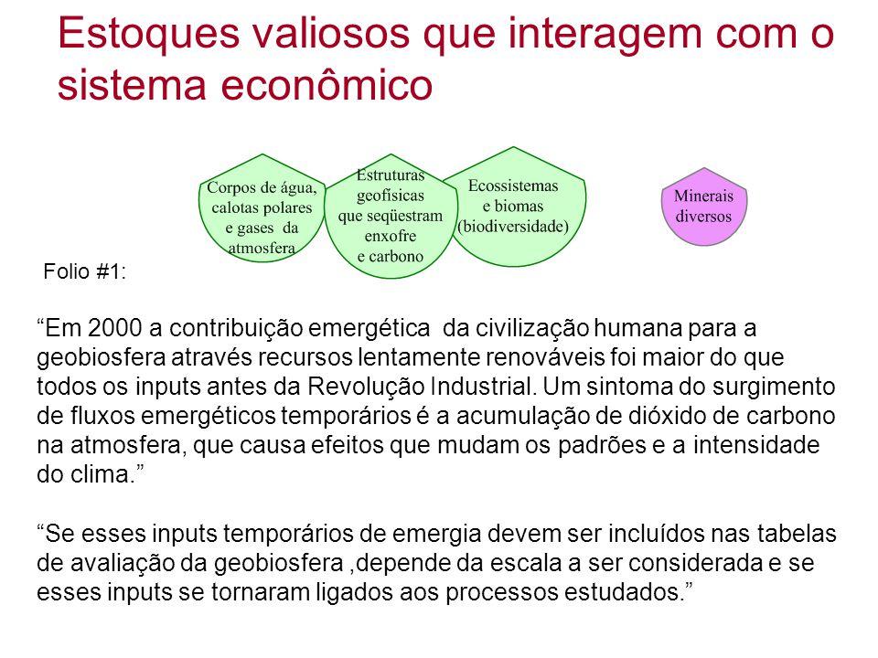 Estoques valiosos que interagem com o sistema econômico