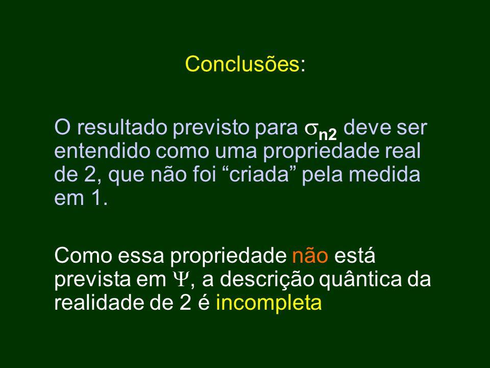 Conclusões: O resultado previsto para n2 deve ser entendido como uma propriedade real de 2, que não foi criada pela medida em 1.