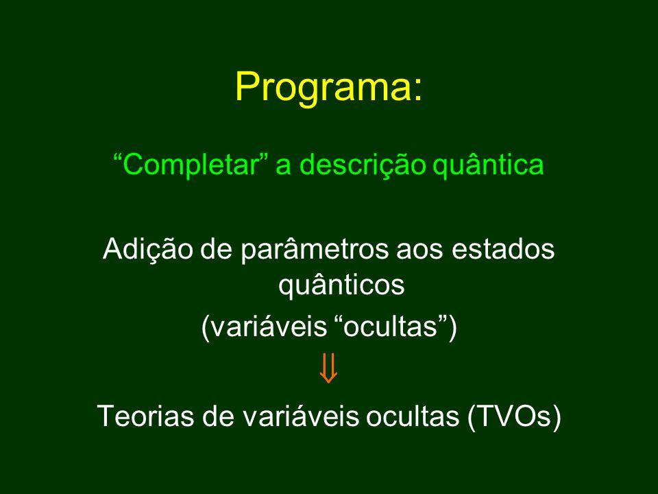 Programa:  Completar a descrição quântica
