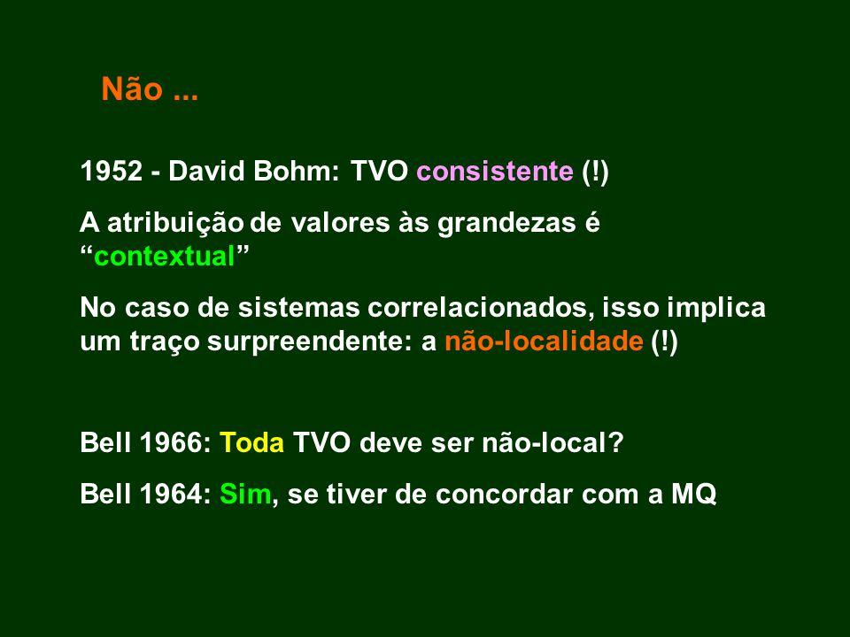 Não ... 1952 - David Bohm: TVO consistente (!)