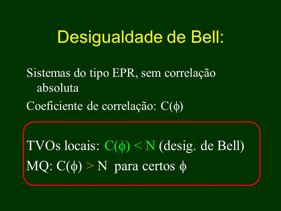 Desigualdade de Bell: TVOs locais: C() < N (desig. de Bell)