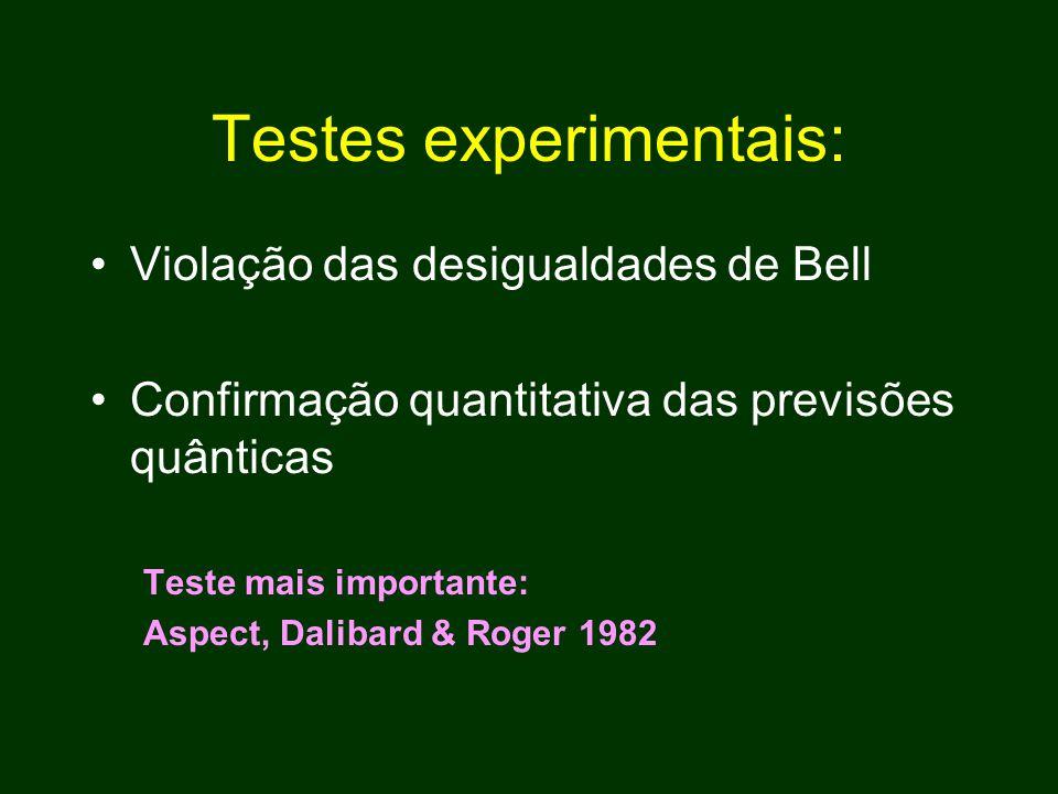 Testes experimentais: