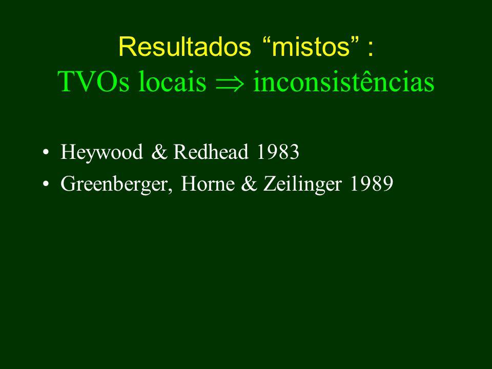 Resultados mistos : TVOs locais  inconsistências