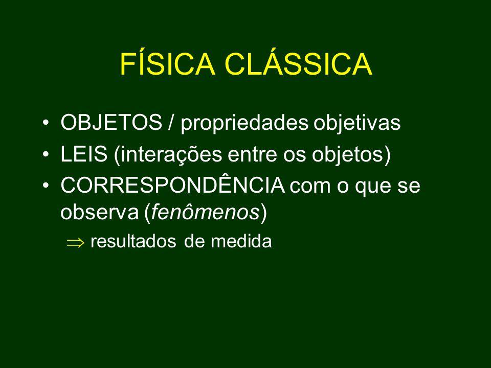 FÍSICA CLÁSSICA OBJETOS / propriedades objetivas