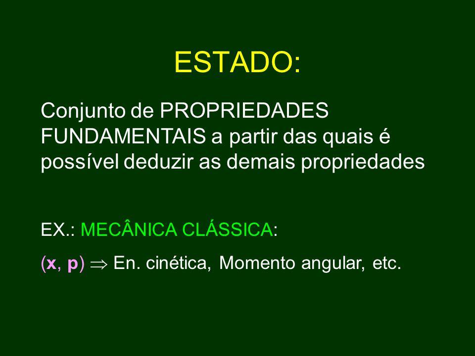 ESTADO: Conjunto de PROPRIEDADES FUNDAMENTAIS a partir das quais é possível deduzir as demais propriedades.