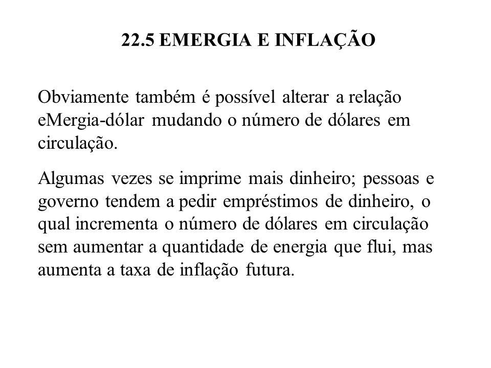 22.5 EMERGIA E INFLAÇÃO Obviamente também é possível alterar a relação eMergia-dólar mudando o número de dólares em circulação.