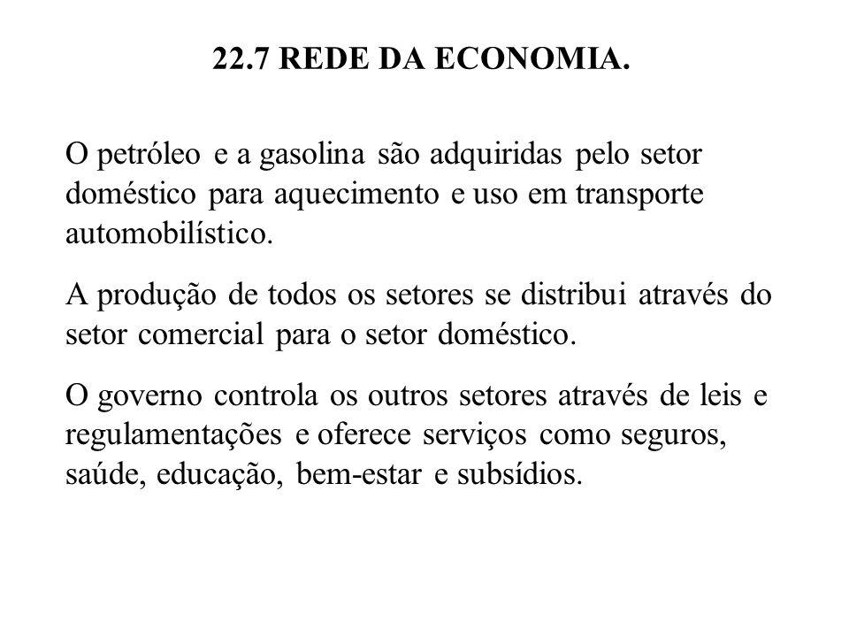 22.7 REDE DA ECONOMIA. O petróleo e a gasolina são adquiridas pelo setor doméstico para aquecimento e uso em transporte automobilístico.