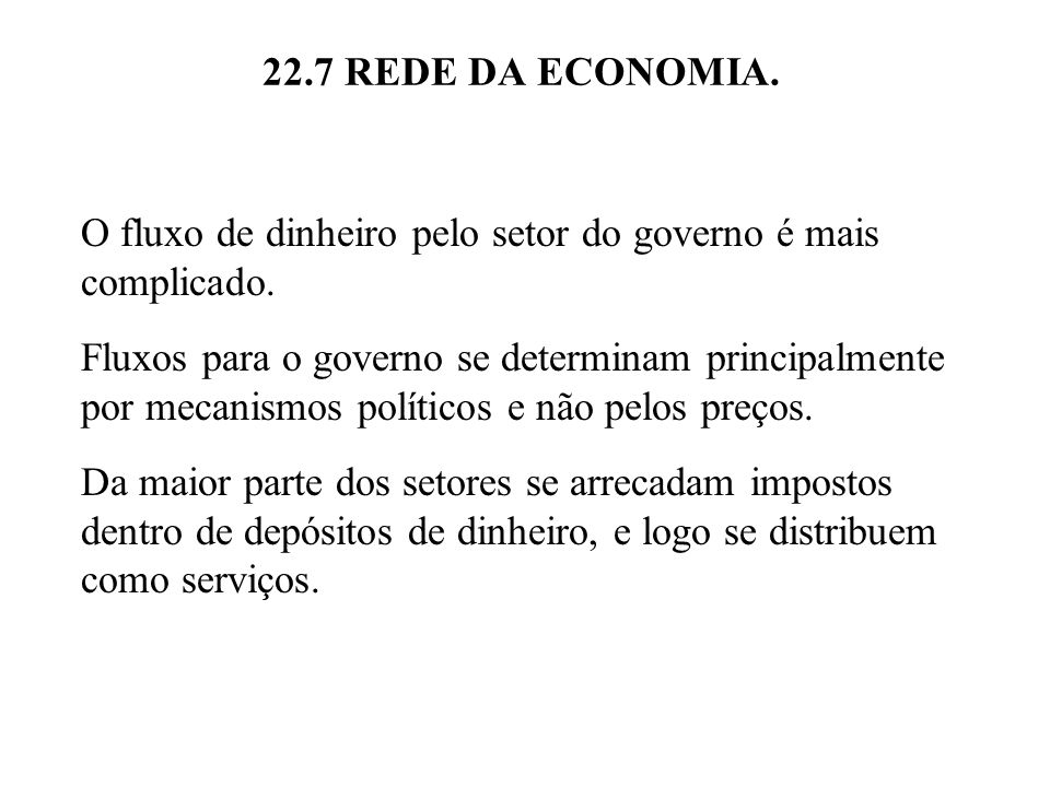 22.7 REDE DA ECONOMIA. O fluxo de dinheiro pelo setor do governo é mais complicado.