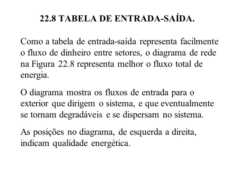 22.8 TABELA DE ENTRADA-SAÍDA.