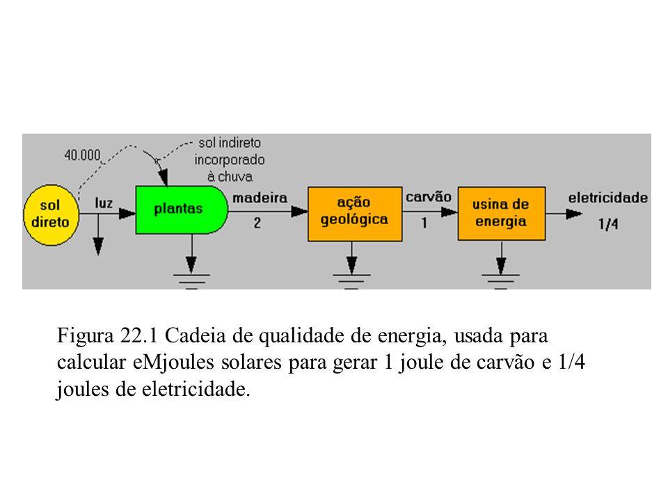 Figura 22.1 Cadeia de qualidade de energia, usada para calcular eMjoules solares para gerar 1 joule de carvão e 1/4 joules de eletricidade.