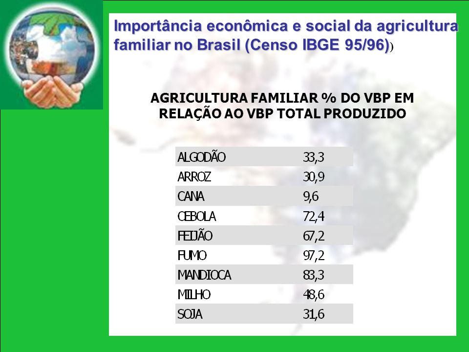 AGRICULTURA FAMILIAR % DO VBP EM RELAÇÃO AO VBP TOTAL PRODUZIDO