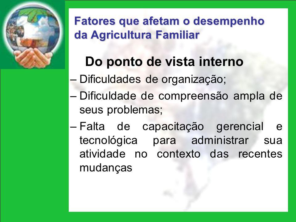 Fatores que afetam o desempenho da Agricultura Familiar