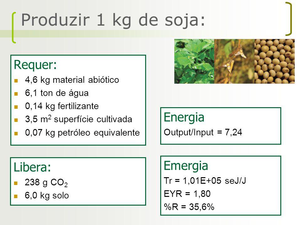 Produzir 1 kg de soja: Requer: Energia Emergia Libera: