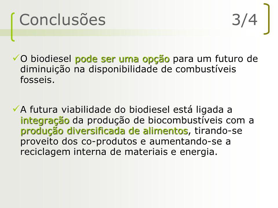 Conclusões 3/4 O biodiesel pode ser uma opção para um futuro de diminuição na disponibilidade de combustíveis fosseis.