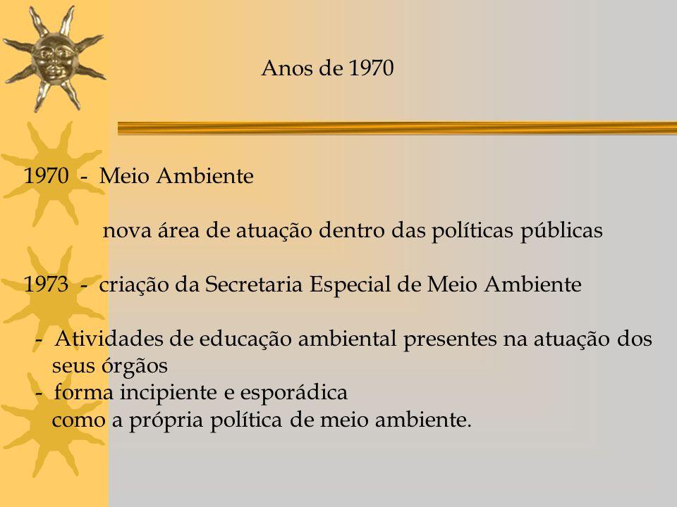 Anos de 1970 1970 - Meio Ambiente. nova área de atuação dentro das políticas públicas. 1973 - criação da Secretaria Especial de Meio Ambiente.