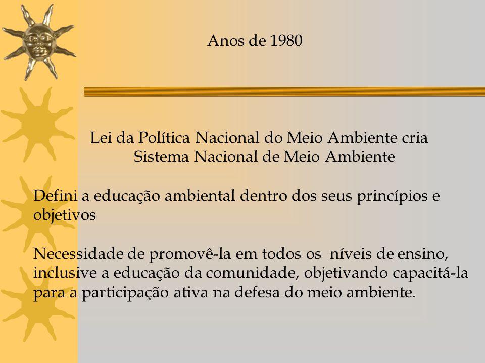 Anos de 1980 Lei da Política Nacional do Meio Ambiente cria. Sistema Nacional de Meio Ambiente.