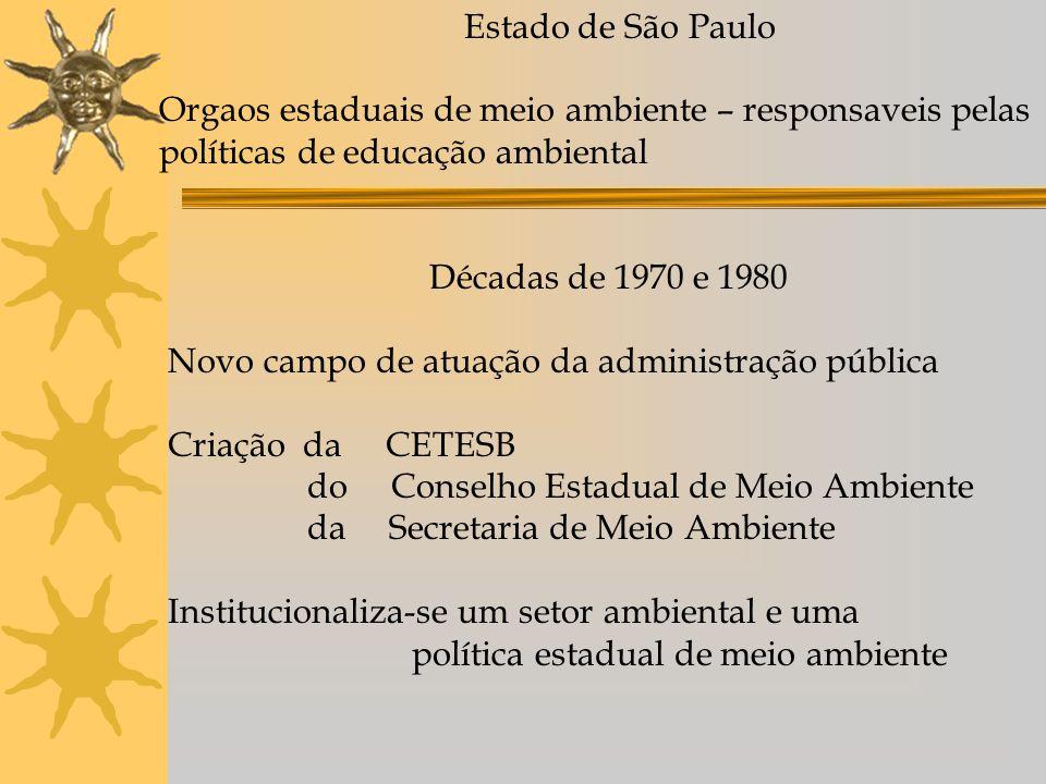 Estado de São Paulo Orgaos estaduais de meio ambiente – responsaveis pelas. políticas de educação ambiental.