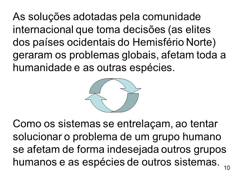 As soluções adotadas pela comunidade internacional que toma decisões (as elites dos países ocidentais do Hemisfério Norte) geraram os problemas globais, afetam toda a humanidade e as outras espécies.