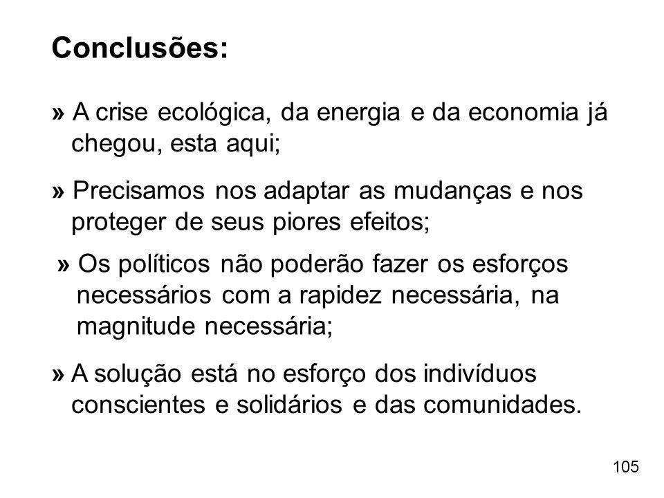 Conclusões: » A crise ecológica, da energia e da economia já chegou, esta aqui;