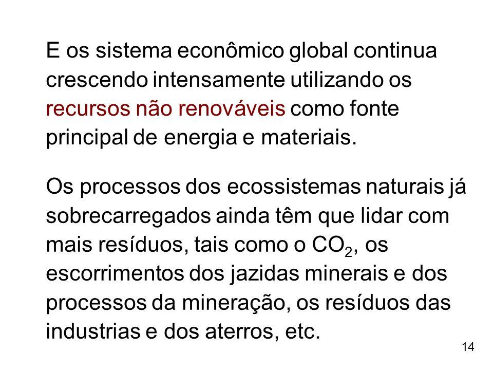 E os sistema econômico global continua crescendo intensamente utilizando os recursos não renováveis como fonte principal de energia e materiais.