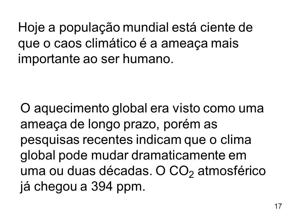 Hoje a população mundial está ciente de que o caos climático é a ameaça mais importante ao ser humano.