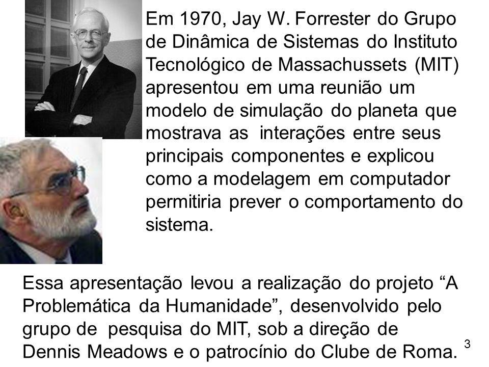 Em 1970, Jay W. Forrester do Grupo de Dinâmica de Sistemas do Instituto Tecnológico de Massachussets (MIT) apresentou em uma reunião um modelo de simulação do planeta que mostrava as interações entre seus principais componentes e explicou como a modelagem em computador permitiria prever o comportamento do sistema.