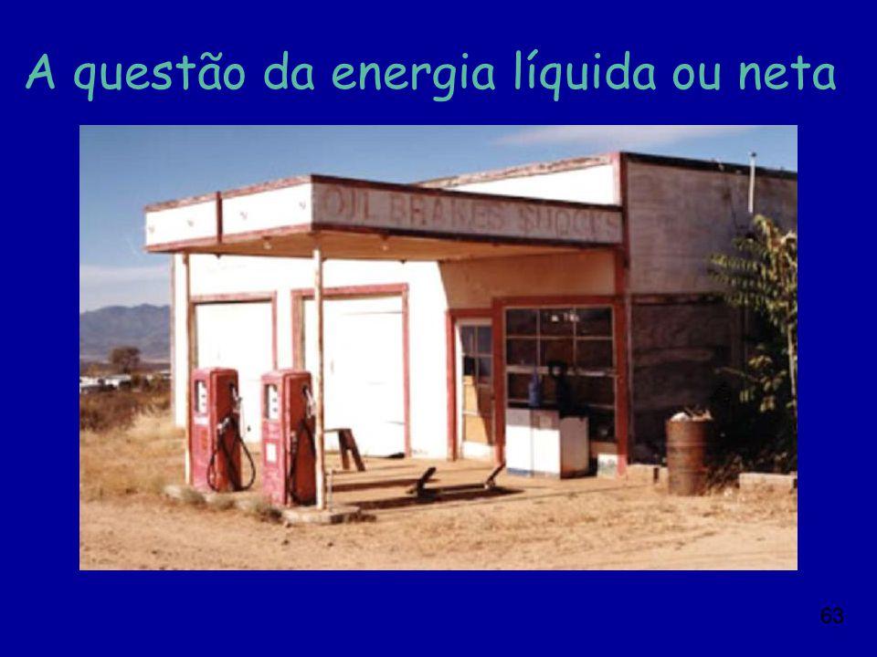 A questão da energia líquida ou neta