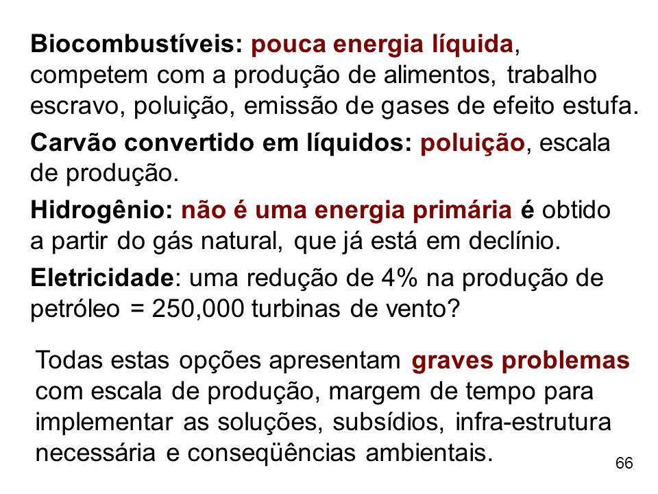Biocombustíveis: pouca energia líquida, competem com a produção de alimentos, trabalho escravo, poluição, emissão de gases de efeito estufa.