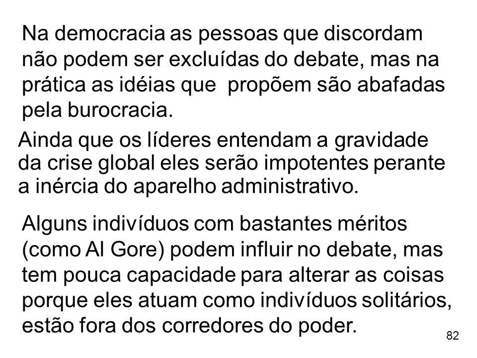 Na democracia as pessoas que discordam não podem ser excluídas do debate, mas na prática as idéias que propõem são abafadas pela burocracia.