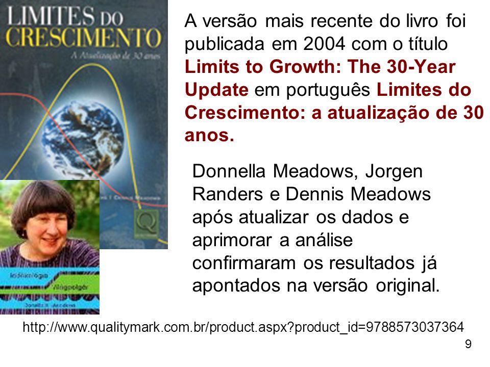 A versão mais recente do livro foi publicada em 2004 com o título Limits to Growth: The 30-Year Update em português Limites do Crescimento: a atualização de 30 anos.