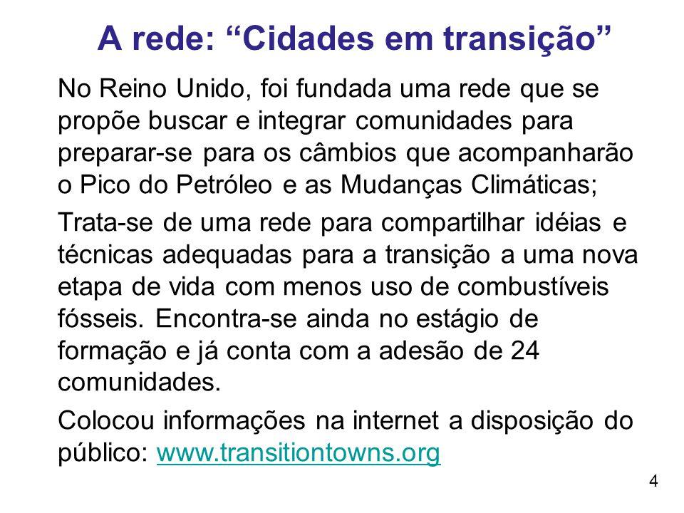A rede: Cidades em transição