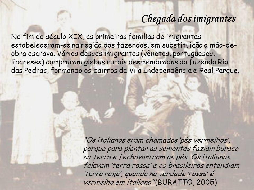 Chegada dos imigrantes