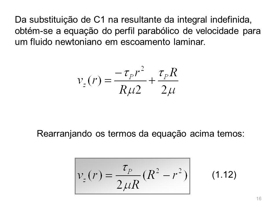 Da substituição de C1 na resultante da integral indefinida, obtém-se a equação do perfil parabólico de velocidade para um fluido newtoniano em escoamento laminar.