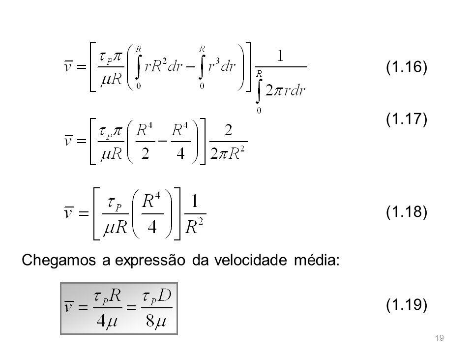 (1.16) (1.17) (1.18) Chegamos a expressão da velocidade média: (1.19)