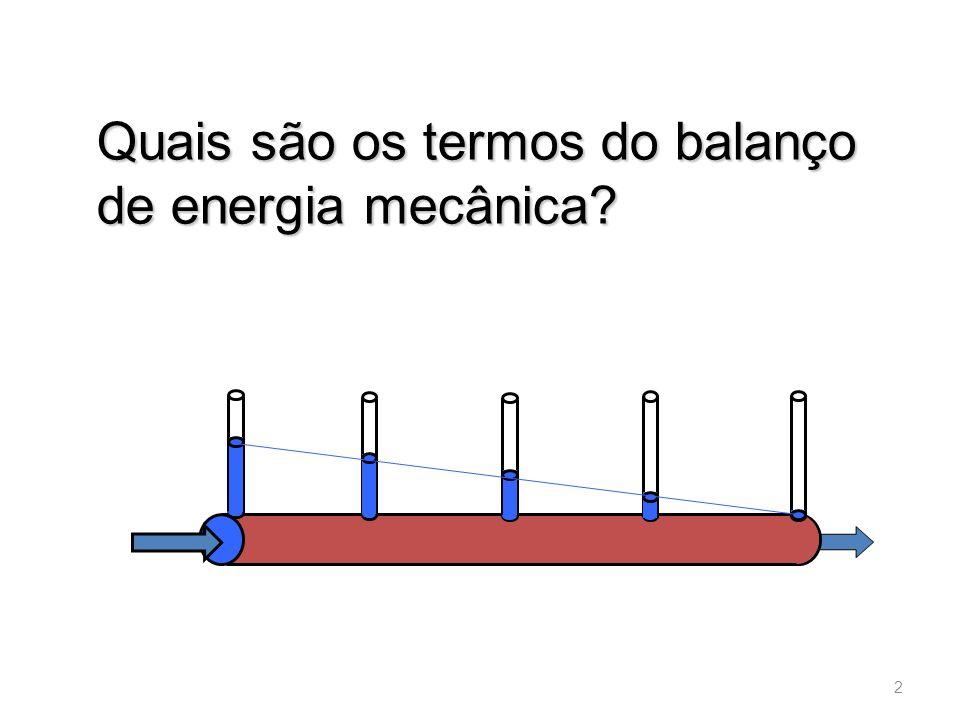 Quais são os termos do balanço de energia mecânica