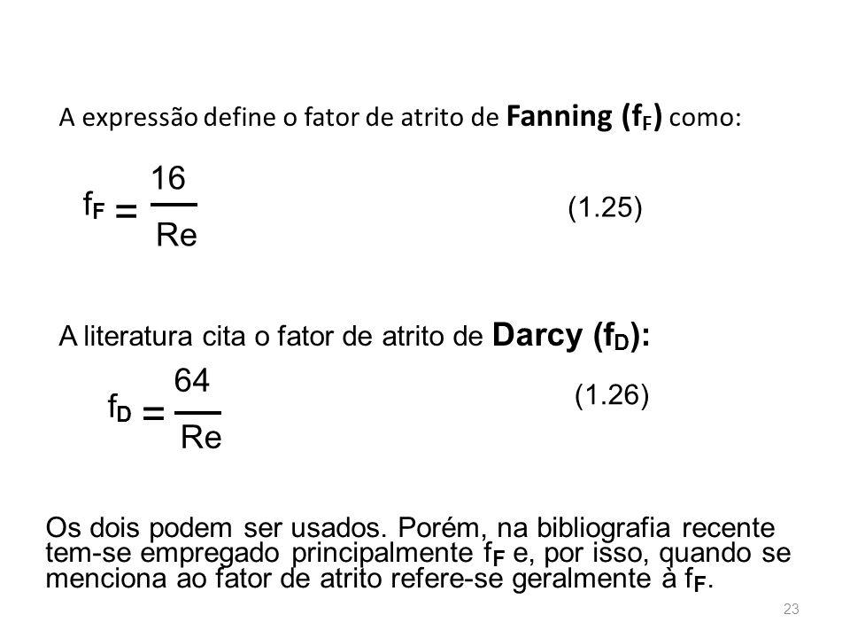 A expressão define o fator de atrito de Fanning (fF) como: