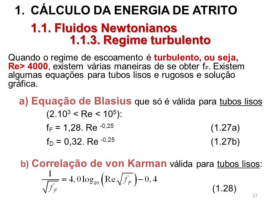 CÁLCULO DA ENERGIA DE ATRITO 1.1.3. Regime turbulento