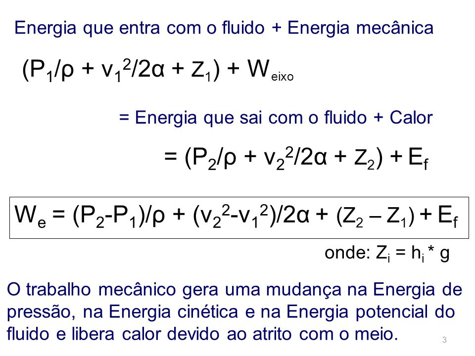We = (P2-P1)/ρ + (v22-v12)/2α + (Z2 – Z1) + Ef