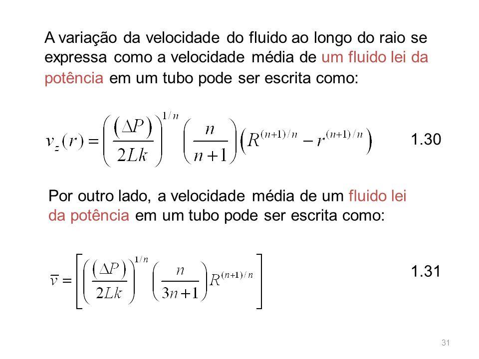 A variação da velocidade do fluido ao longo do raio se expressa como a velocidade média de um fluido lei da potência em um tubo pode ser escrita como: