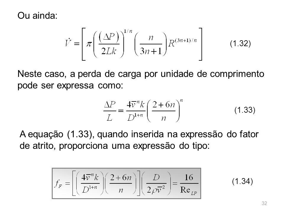 Ou ainda: (1.32) Neste caso, a perda de carga por unidade de comprimento pode ser expressa como: (1.33)