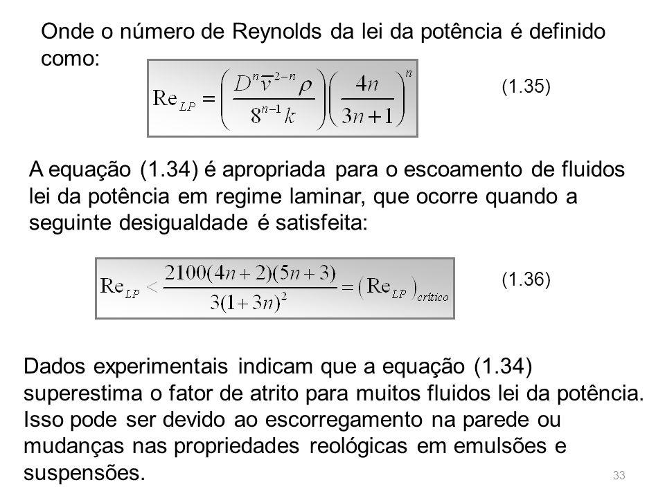 Onde o número de Reynolds da lei da potência é definido como: