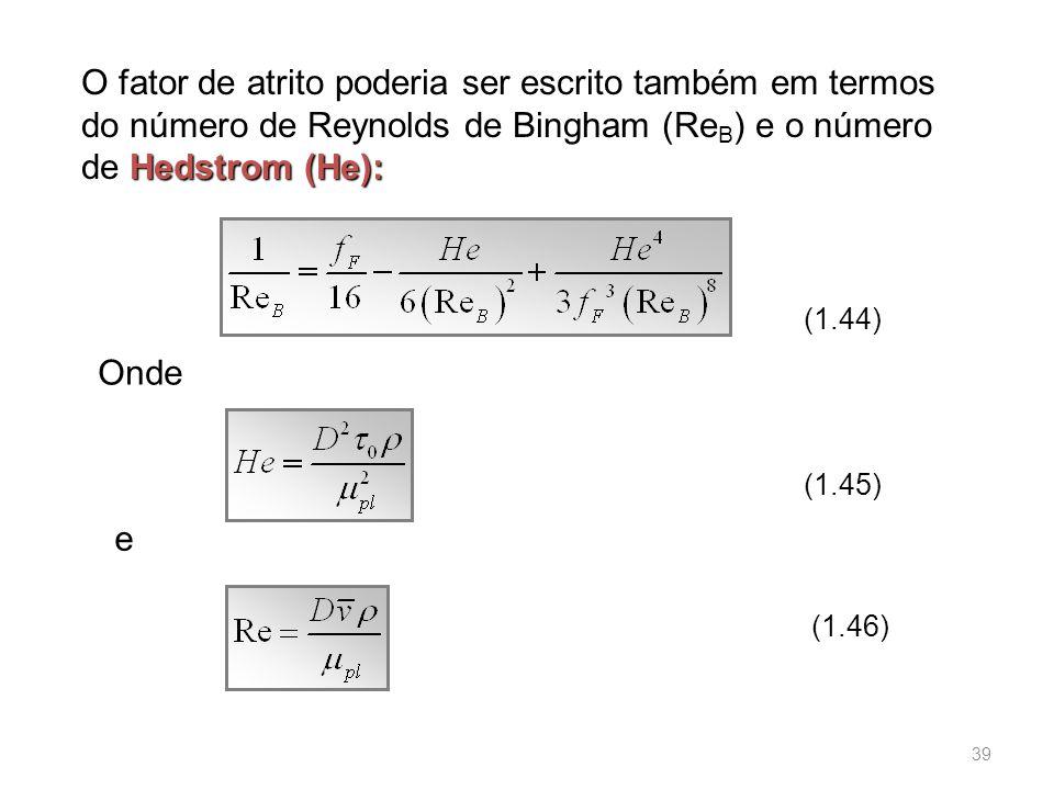 O fator de atrito poderia ser escrito também em termos do número de Reynolds de Bingham (ReB) e o número de Hedstrom (He):