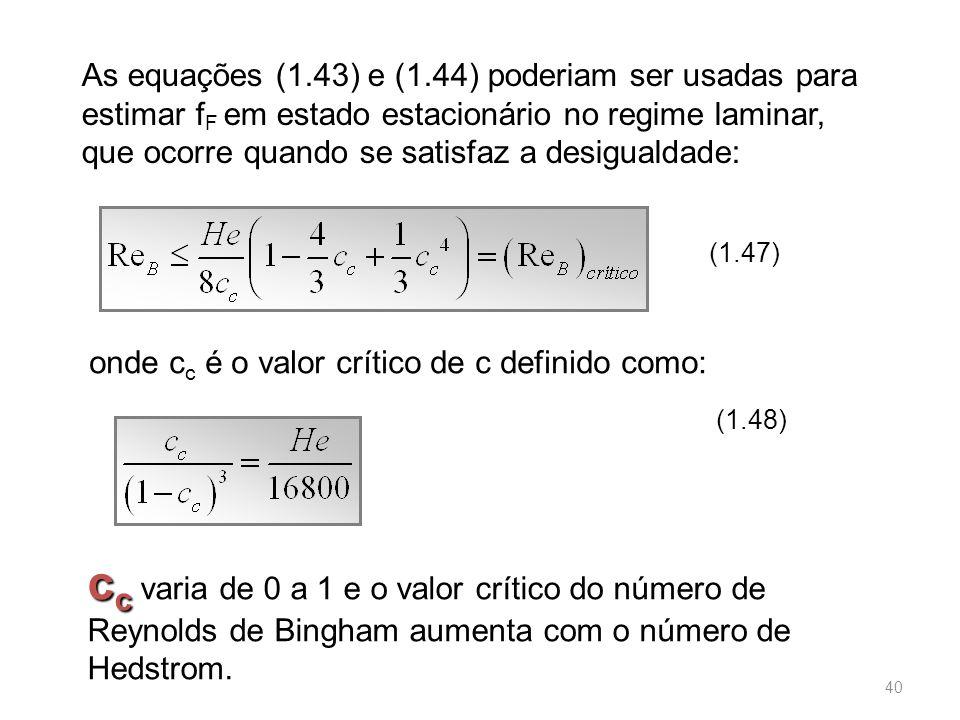 As equações (1.43) e (1.44) poderiam ser usadas para estimar fF em estado estacionário no regime laminar, que ocorre quando se satisfaz a desigualdade: