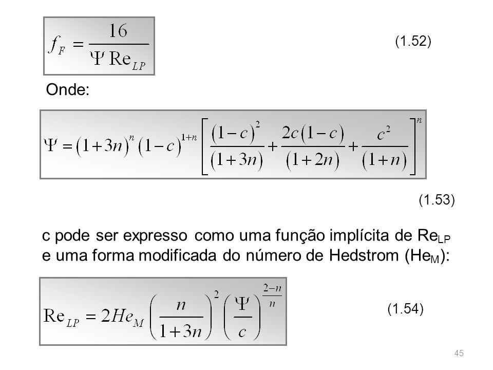 (1.52) Onde: (1.53) c pode ser expresso como uma função implícita de ReLP e uma forma modificada do número de Hedstrom (HeM):