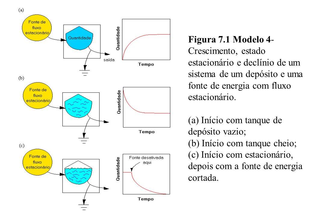 Figura 7.1 Modelo 4-Crescimento, estado estacionário e declínio de um sistema de um depósito e uma fonte de energia com fluxo estacionário.
