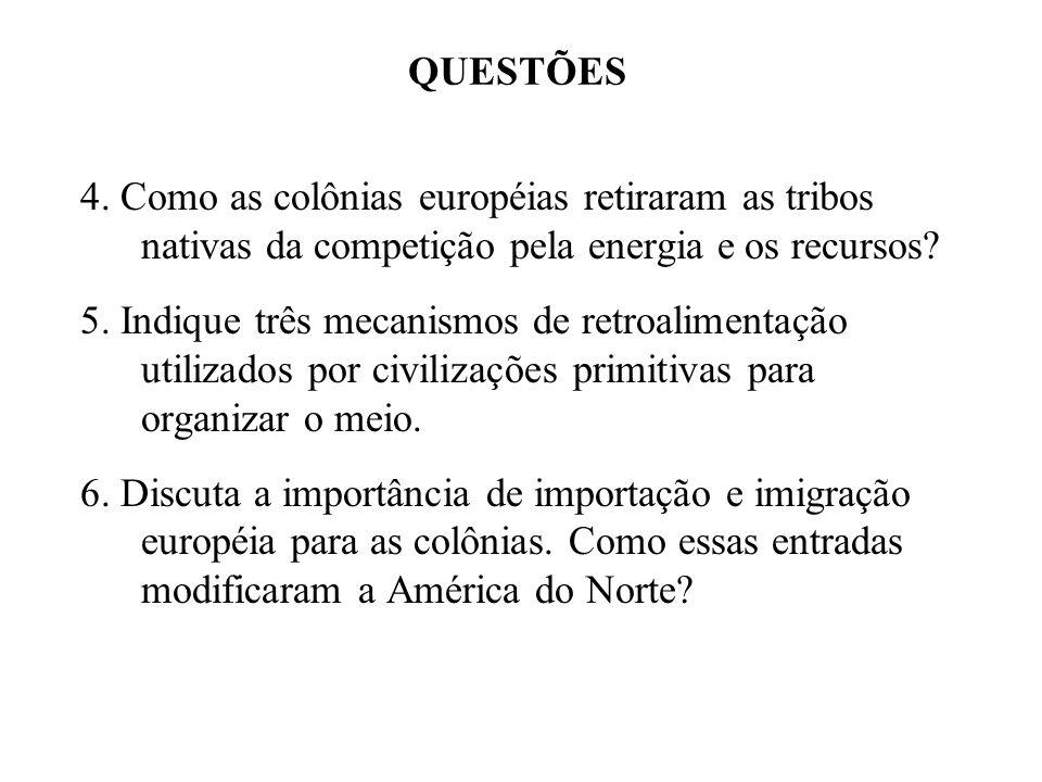 QUESTÕES 4. Como as colônias européias retiraram as tribos nativas da competição pela energia e os recursos
